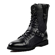 cheap Extended-Size Shoes-Men's Boots Spring Fall Mary Jane Cowhide Outdoor Casual Flat Heel Lace-up Black Walking