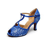cheap Latin Shoes-Women's Latin Shoes Lace Sandal Indoor / Performance / Professional Ruffles Stiletto Heel Non Customizable Dance Shoes Royal Blue