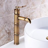billige Rabatt Kraner-Baderom Sink Tappekran - Forskyll / Regndusj / Utbredt Antikk Kobber Centersat Enkelt håndtak To Huller