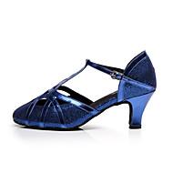 billige Moderne sko-Dame Sko til latindans Glimtende Glitter Sandaler Spenne Tykk hæl Kan spesialtilpasses Dansesko Svart / Blå / Innendørs / Ytelse