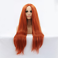 Naisten Synteettiset peruukit Lace Front Pitkä Suora Kullanruskea Luonnollinen hiusviiva Keskijakaus Luonnollinen peruukki Halloween