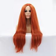 Kvinder Syntetiske parykker Blonde Forside Lang Rett Rødbrun Naturlig hårlinje Midtskill Naturlig parykk Halloween parykk Karneval Parykk