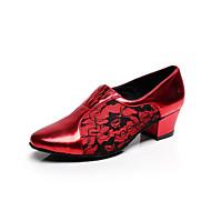 Dame Latin Salsa Velourisert Sandaler Trening Nybegynner Profesjonell Innendørs Spenne Stiletthæl Svart Rød Mørkegrå 7,5 cm Kan