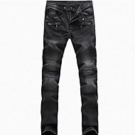 Pánské Vintage Větší velikosti Štíhlý Rovné Volné Džíny Kalhoty - Plisé, Jednobarevné