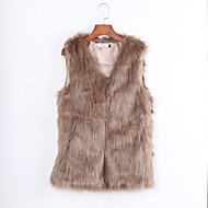 Women's Plus Size / Casual/Daily / Party/Cocktail Sexy / Simple Fur Coat,Solid V Neck Sleeveless Fall / Winter Brown /