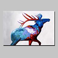 billiga Djurporträttmålningar-HANDMÅLAD Djur / Pop olje,Moderna En panel Kanvas Hang målad oljemålning For Hem-dekoration