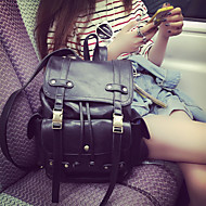 Women Bags PU leatherette Backpack Zipper for Casual Summer Black Brown
