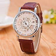 男性用 スケルトン腕時計 機械式時計 自動巻き / PU バンド カジュアル ブラック ブラウン