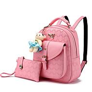 お買い得  バッグセット-女性用 バッグ PU バッグセット 2個の財布セット ラッフル ダークブルー / ピンク / ワイン