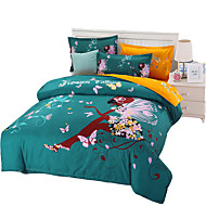 cheap Contemporary Duvet Covers-Duvet Cover Sets Floral 4 Piece Cotton Reactive Print Cotton 1pc Duvet Cover 2pcs Shams 1pc Flat Sheet