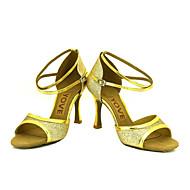 baratos Sapatilhas de Dança-Mulheres Sapatos de Dança Latina / Sapatos de Salsa Glitter Sandália / Salto Presilha / Cadarço de Borracha Salto Personalizado Personalizável Sapatos de Dança Prateado / Azul / Dourado / Espetáculo