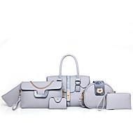 お買い得  バッグセット-女性用 バッグ PU バッグセット 6個の財布セット グレー / Brown / レッド