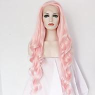 Mulher Perucas sintéticas Frente de Malha Longo Onda de Corpo Rosa Riscas Naturais Repartida ao Meio Peruca Natural Peruca de Halloween