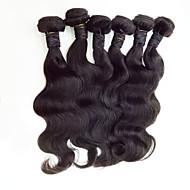 6pcs / lotミックスサイズ8-30インチマレーシアバージンストレートヘアナチュラルブラック人間の髪の織り