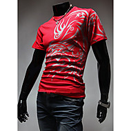 Erkek Pamuklu Tişört Desen, Solid Günlük / Boho Spor / Kısa Kollu