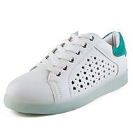 נשים-נעלי ספורט-PU-נעליים לעריסה רצועת קרסול להאיר נעליים נוחות-לבן-יומיומי ספורט-עקב שטוח