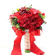 """billiga Brudbuketter-Brudbuketter Bukett Bröllop Fest / afton Taft Spandex Torkad blomma Pärlor Spets Polyester Satin 11.02""""(Approx.28cm)"""