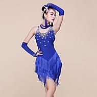 Baile Latino Vestidos Mujer Rendimiento Licra / Fibra de Leche Cuentas / Borla Sin Mangas Cintura Media Vestido