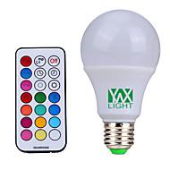 billige Globepærer med LED-10W E26/E27 LED-globepærer 12 SMD 600-800 lm Naturlig hvit / RGB Dimbar / Fjernstyrt / Dekorativ V 1 stk.
