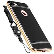 のために メッキ仕上げ ケース バックカバー ケース ソリッドカラー ソフト 本革 のために Apple iPhone 7プラス / iPhone 7 / iPhone 6s Plus/6 Plus / iPhone 6s/6 / iPhone SE/5s/5