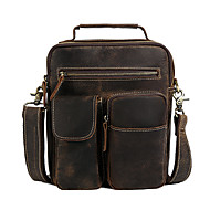 Men Bags All Seasons Cowhide Shoulder Bag Metallic for Casual Outdoor Brown