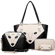 女性 バッグ オールシーズン 牛側 バッグセット 4個の財布セット のために カジュアル ブラック パープル レッド