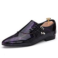 Herre sko PU Vår Høst Komfort Oxfords Snøring Til Avslappet Hvit Svart Lilla Mørkebrun Blå