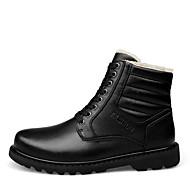 Herre-Lær-Flat hæl-Komfort-Treningssko-Fritid-Svart