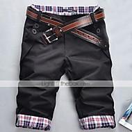 Hombre Delgado Corte Recto / Shorts Pantalones - A Cuadros Negro