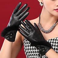 pontas dos dedos de comprimento pu bowknot pulso das mulheres adicionar lã bonito / partido / casuais moda inverno luvas quentes