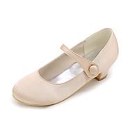 baratos Sapatos de Menina-Para Meninas Sapatos Cetim Primavera Verão Saltos para Azul / Champanhe / Ivory / Casamento / Festas & Noite