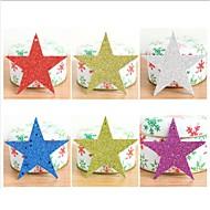 6個 /セットクリスマスツリー装飾的な星の飾りクリスマスの飾り紙キラキラスパンコールクリスマス星形五角形のpendant10cm