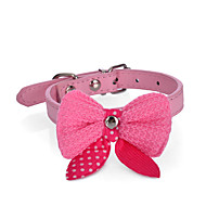Dog Collar Adjustable / Retractable Strobe/Flashing Bowknot PU Leather