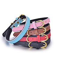 katten / honden Kraag Verstelbaar/Uitschuifbaar / Met de hand gemaakt Effen / Kerstmis Rood / Zwart / Blauw / Bruin / Roze Echt Leer
