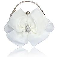baratos Clutches & Bolsas de Noite-Mulheres Bolsas Cetim Bolsa de Festa Laço Branco / Preto / Sacolas de casamento