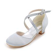 baratos Sapatos de Menina-Para Meninas Sapatos Seda Primavera Verão Saltos para Azul / Champanhe / Ivory / Casamento / Festas & Noite