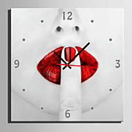 E-Home® Red Lips Clock In Canvas 1Pcs Home Furnishing Decoration