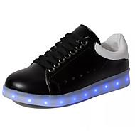 יוניסקס-נעלי ספורט-PU-נוחות נעליים לעריסה רצועת קרסול להאיר נעליים-שחור לבן-יומיומי ספורט-עקב שטוח