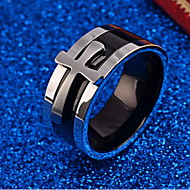 בגדי ריקוד גברים טבעת - פלדת טיטניום צלב מותאם אישית תכשיטים כסף עבור יומי מידה אחת One Size