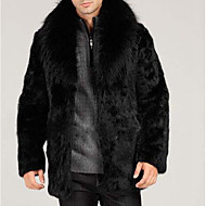 Krzneni kaput Normalne dužine Muškarci, Kaputi Jedna barva Zašiljeni rever Zima Jesen Umjetno krzno