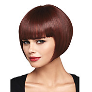 Bob Short Straight for Women Dark Brown Full Side Bang Synthetic Wig Cheap Cosplay Wigs Hair