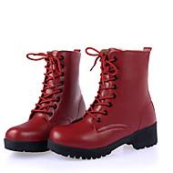 ieftine -Pentru femei Pantofi Piele Toamnă / Iarnă Confortabili / Cizme la Modă / Ghete Cizme Toc Drept Dantelă Alb / Negru / Rosu