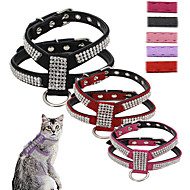Cat Dog Harness Leash Adjustable / Retractable Sequins Vest Mosaic Rhinestone PU Leather Rose Red Pink