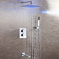 Contemporary Wall Mounted Handshower Included Thermostatic LED Ceramic Valve Two Handles Four Holes Chrome , Shower Faucet
