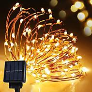 zonne-energie string licht waterdicht led strip 10 m 100led koperdraad lamp warm wit voor buiten decoratie verlichting