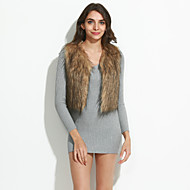Women's Plus Size Street chic Fur CoatSolid V Neck Sleeveless Fall / Winter Black / Brown / Gray / Yellow Faux Fur Thick
