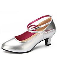 billige Moderne sko-Dame Latin Kunstlær Høye hæler Innendørs Tykk hæl Gull Svart Sølv Rød 5 cm Kan ikke spesialtilpasses