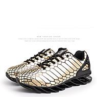 Bărbați Adidași de Atletism Primăvară Vară Toamnă Iarnă Imitație de Piele Outdoor Atletic Toc Plat Dantelă Auriu Negru Argintiu Alergare