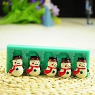 billige -Jule snømann med skjerf  kake sjokolade silikon Form kake dekorasjon verktøy, l12 * b4 * h1.3cm