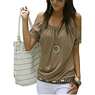 Dámské - Jednobarevné Šik ven Větší velikosti Tričko, Vystřižený Bavlna Ramínka / Pod rameny Bílá XL / Léto